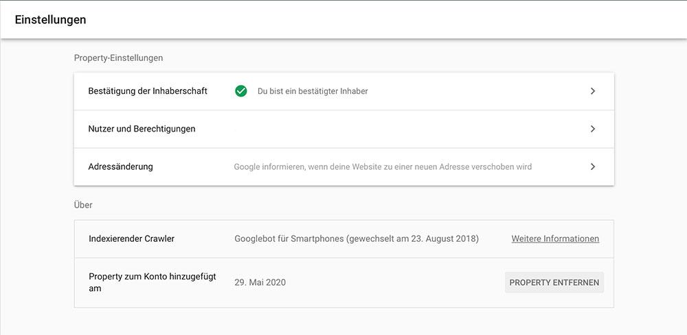 Google Search Console Einblick in die Einstellungen > Indexierender Crawler, Beachtung für Mobile-First-Indizierung.