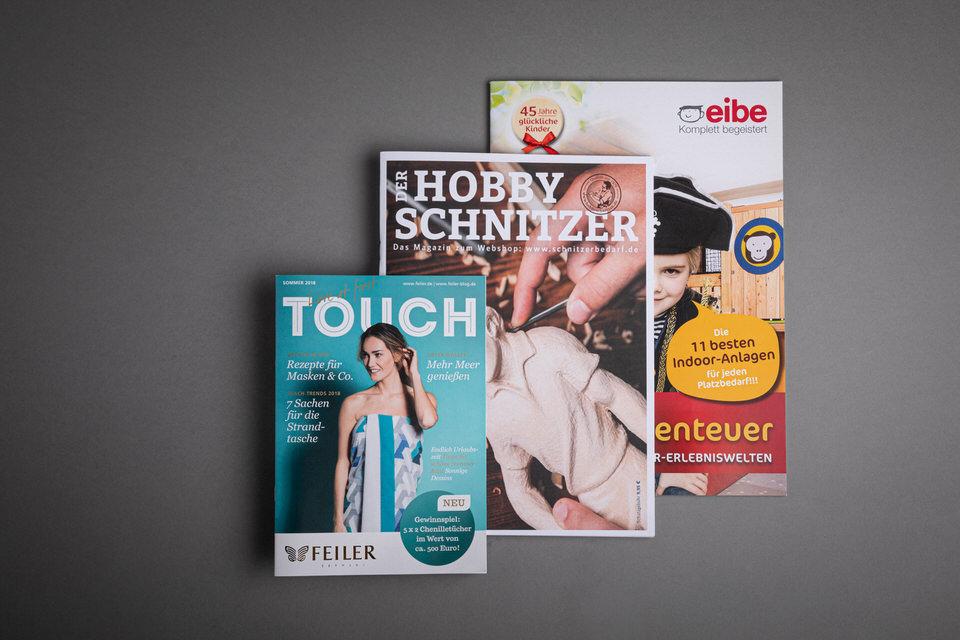 3 Branchen, 3 unterschiedliche Magaloge: Feiler Germany, Hobbyschnitzer, eibe