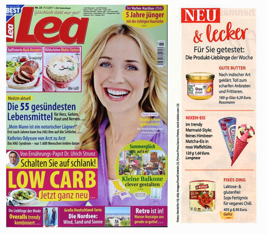 """Produkt-PR Beispielmagazin """"Lea"""" und Ausschnitt """"Neu & Lecker"""" Produktlieblinge der Woche"""