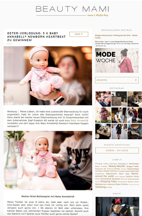 Blogger-Kooperation Beauty Mami mit Zapf Creation