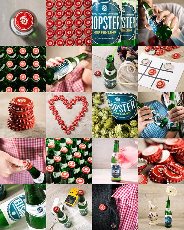 Collage aus modernen Moodaufnahmen: Stillleben-Fotografie zeigt Hopster-Flaschen und bayerische Requisiten