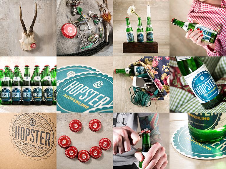 Modernes Stillleben aus Hopster-Flaschen, Kronkorken und Requisiten im bayerischen Look – Collage aus mehreren Moodaufnahmen