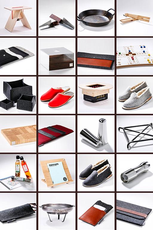 Hochwertige, handgemachte Produkte auf weißem Untergrund fotografiert – darunter Pfeffermühle, Schneidebrett, Brettspiel, Tablet-Hüllen und vieles mehr