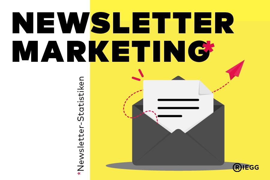 Newsletter Statistik – Grafik eines Briefes – aus dem Briefumschlag fliegt ein Papierflieger