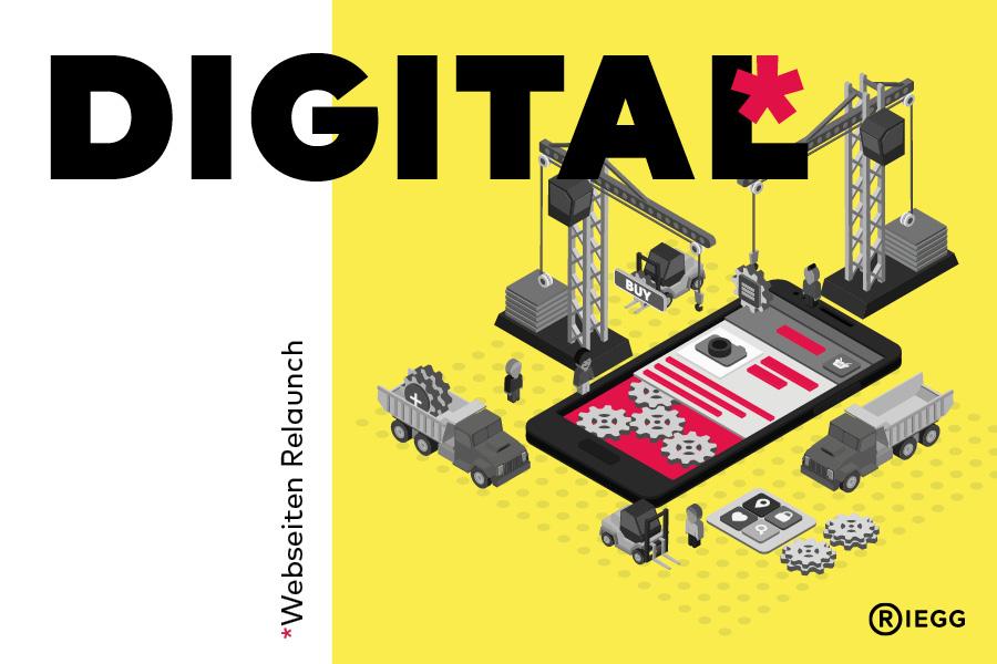 Webseiten Relaunch: Cartoon Darstellung – Kräne und Baustellenfahrzeuge arbeiten an einem Smartphone