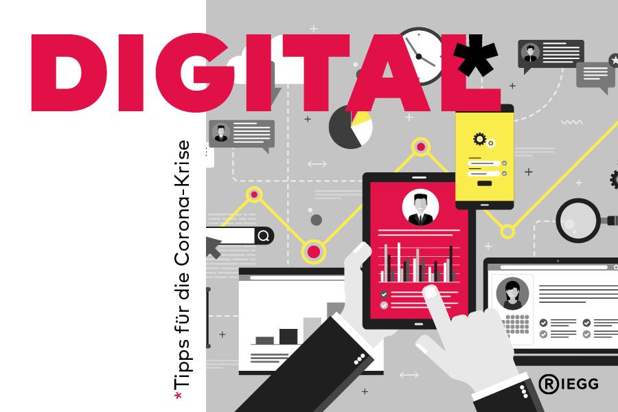 Grafik mit digitalen Endgeräten und Icons