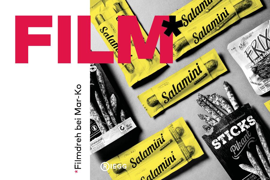 Produkte von Mar-Ko Fleischwaren aus der Vogelperspektive: Verpackungen von Salamini, Mr. Frix und Sticks