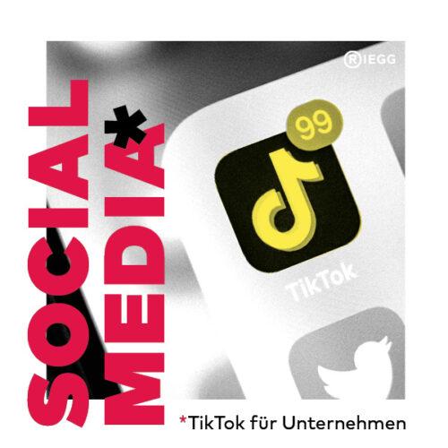 TikTok für Unternehmen: Smartphone Bildschirm mit TikTok Icon, mit 99 neuen Benachrichtigungen