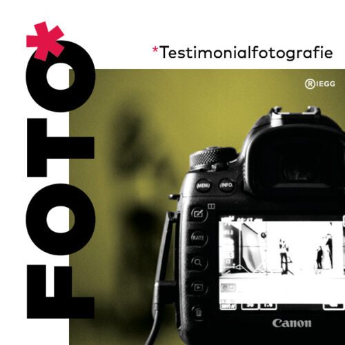 Nahaufnahme einer Kamera während des Testimonial-Fotoshootings