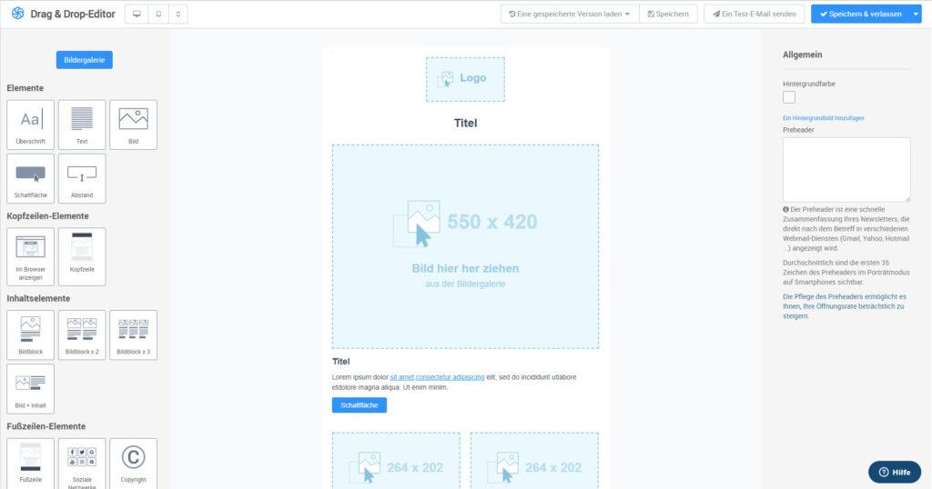 Screenshot vom Drag-and-Drop-Editor von SendInBlue zum Erstellen von Newslettern