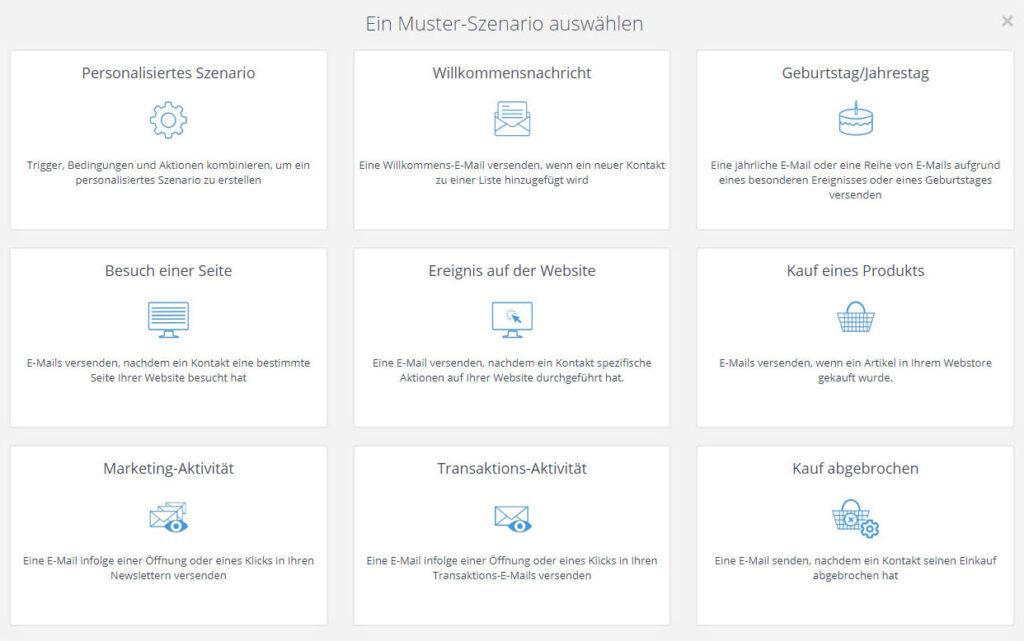 Screenshot der Autoresponder-Musteroptionen von SendInBlue